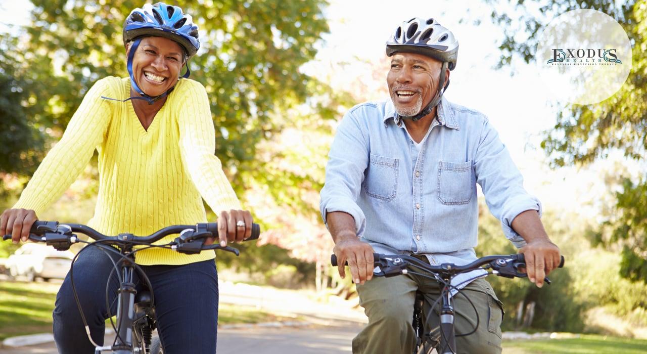 older couple riding backs after ketamine treatment for chronic pain